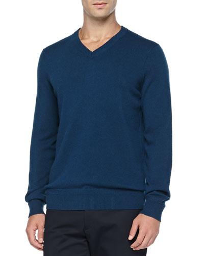 Vince Cashmere V-Neck Pullover Sweater, Blue