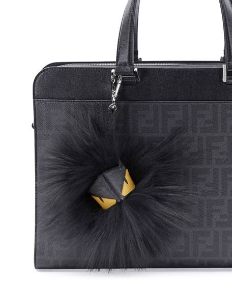 Fur Monster Charm for Men's Bag, Black