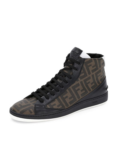 Fendi Zucca High-Top Leather Sneaker, Tobacco