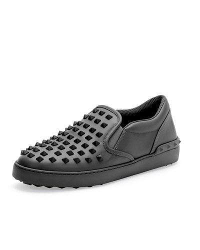 Rockstud Men's Slip-On Sneaker, Black