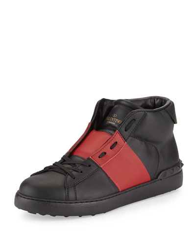 Valentino	 Rockstud Leather Mid-Top Sneaker, Black/Red