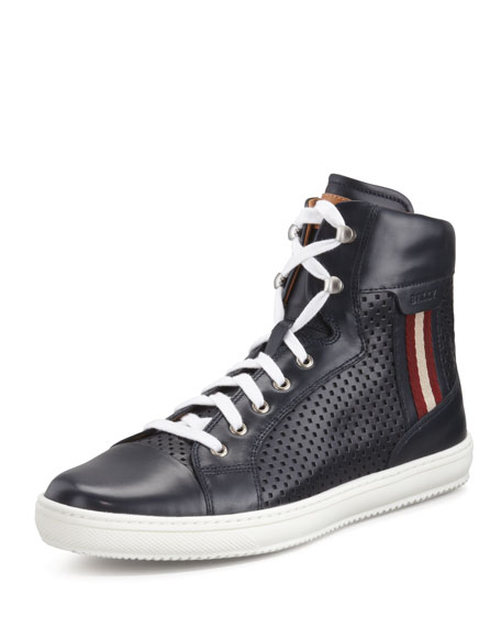Olir Perforated Leather High-Top Sneaker
