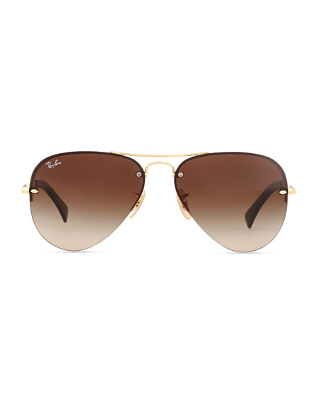 Rimless Sunglasses Ray Ban  ray ban semi rimless aviator sunglasses gold brown
