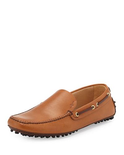 Plain-Vamp Driving Shoe, Dark Brown