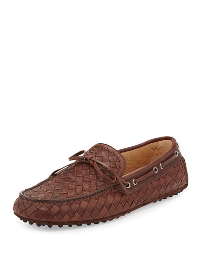 Woven Leather Driving Shoe, Bruciato