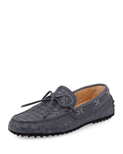 Woven Leather Driving Shoe, Navy