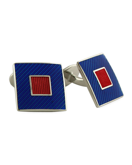 STERLING SILVER RED/NAVY SQU