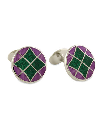 Round Green & Purple Cuff Links