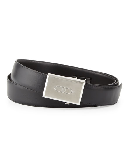 dunhill Logo Leather Belt, Black