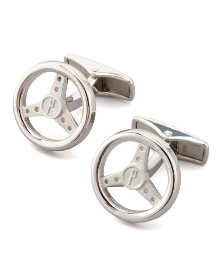 Silver Steering Wheel Cuff Links