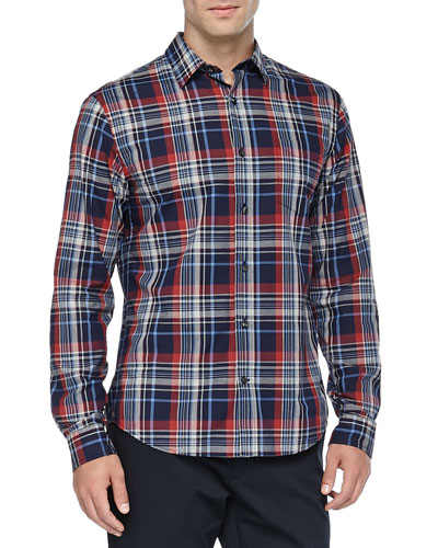 Plaid Button-Down Shirt, Navy
