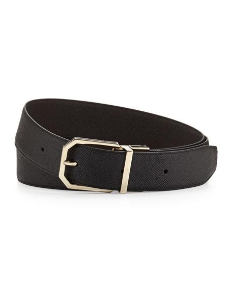 Gold Facet Insert Belt, Black