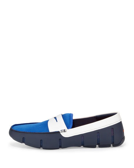 Tricolor Mesh/Rubber Penny Loafer, Navy
