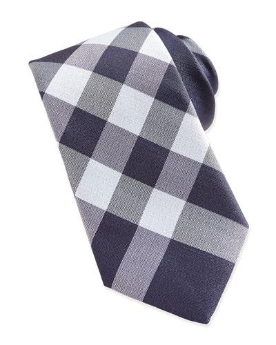 Check Woven Tie, Blue