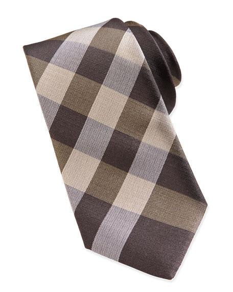 Check Woven Tie, Camel