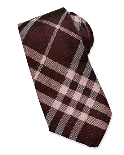 Basic Check Silk Tie, Mahogany Red