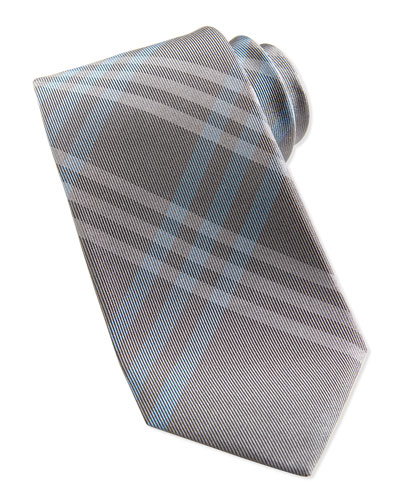 Silk Check Tie, Gray/Powder Blue