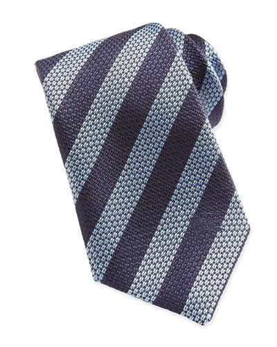 Striped Woven Tie, Blue