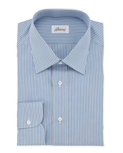 Striped Cotton Dress Shirt, French Blue