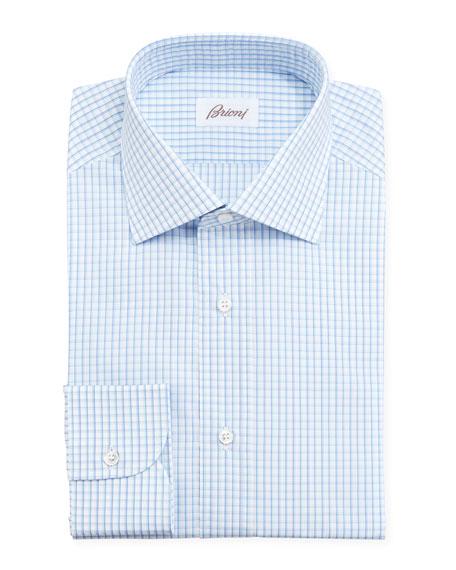 Brioni Checked Dress Shirt Blue Aqua