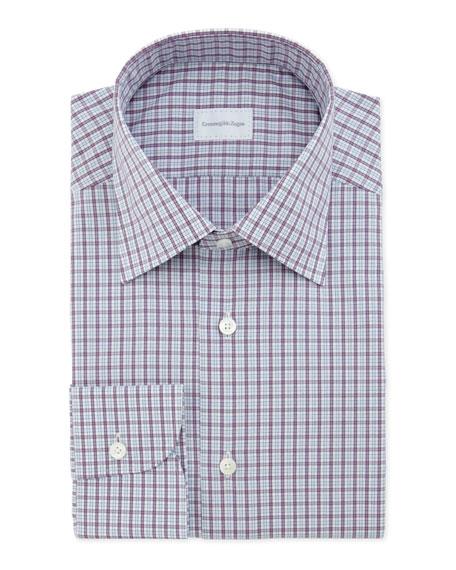 Ermenegildo Zegna Small Plaid Dress Shirt Purple Light Blue