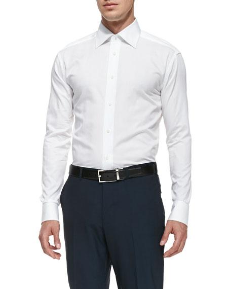 Ermenegildo Zegna Woven Poplin Dress Shirt, White