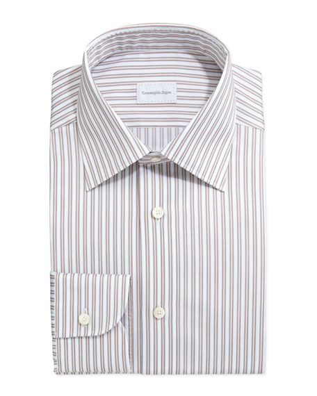 Framed Stripe Dress Shirt, Tan/Light Blue