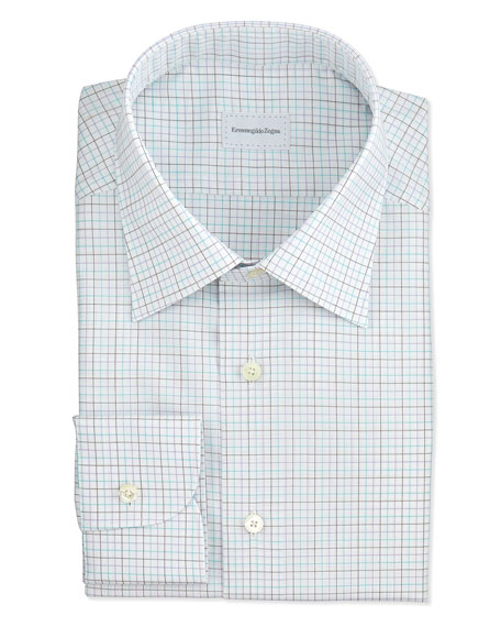 Textured Multi Tattersall Dress Shirt, Teal