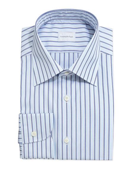 Striped Dress Shirt, Light Blue/Navy