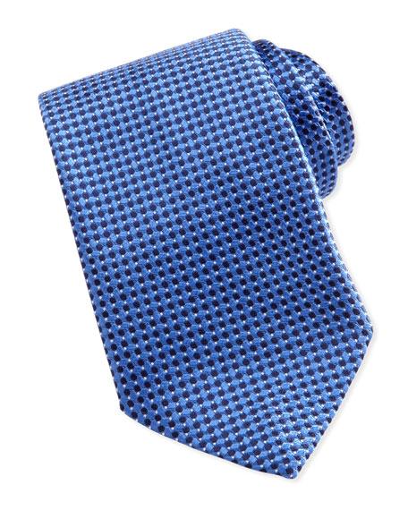 Woven Tonal-Diamond-Print Tie, Blue