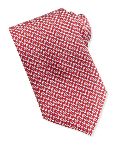 Houndstooth-Print Silk Tie, Red