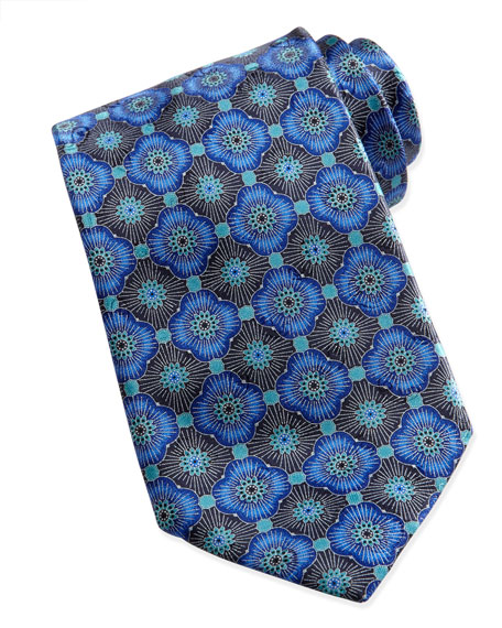 Geometric-Floral Silk Tie, Blue