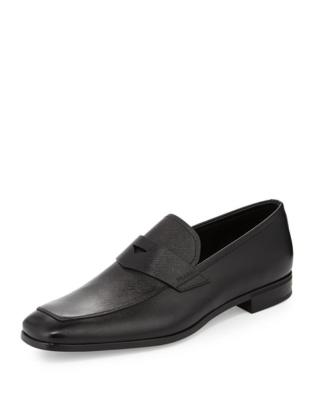 Prada Saffiano Penny Loafer, Black