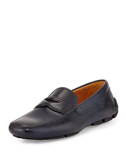 Leather Penny Driver, Navy