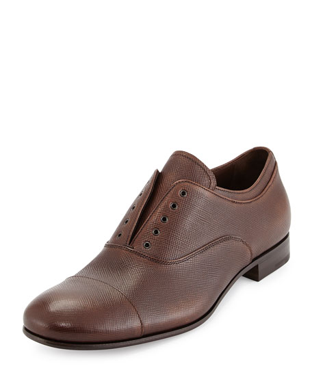 Prada Leather Laceless Oxford, Brown