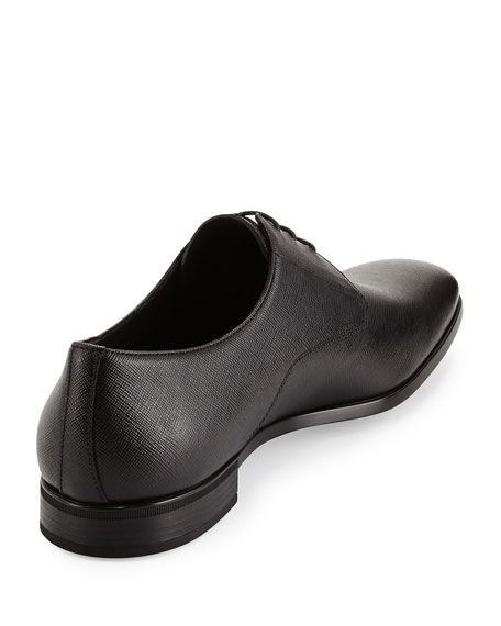 Saffiano Lace-Up Oxford, Black