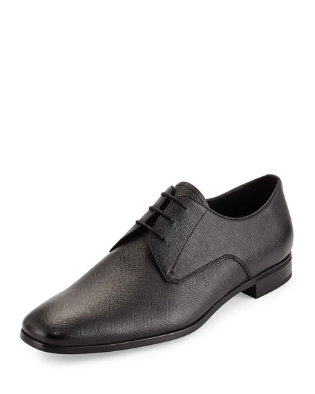Prada Saffiano Lace-Up Oxford, Black