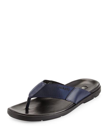 Prada Men's Nylon Flip Flop, Blue