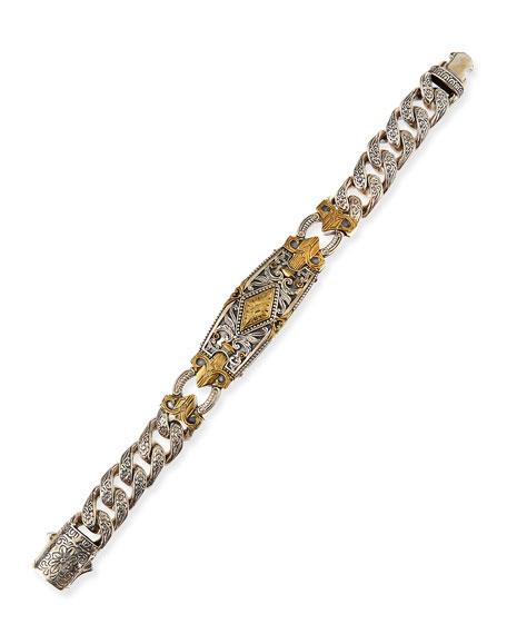 Myrmidones Men's Filigree Link ID Bracelet