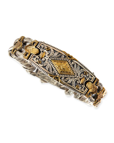 Myrmidones Men's Filigree Link ID Bracelet