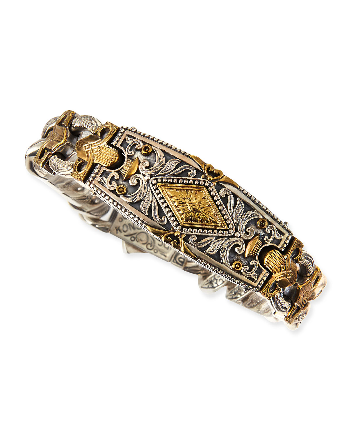 Myrmidones Men S Filigree Link Id Bracelet