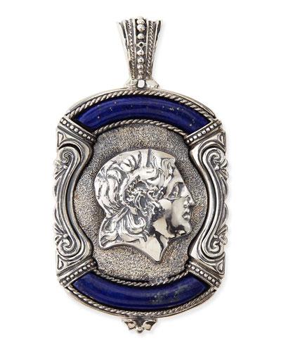 Men's Sterling Silver & Lapis Greek Pendant