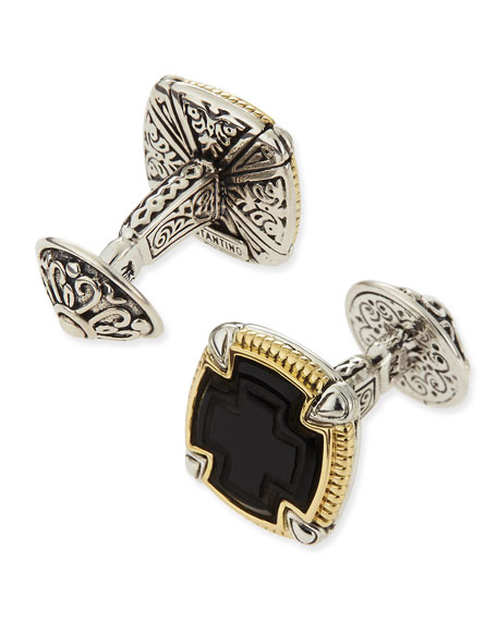 Ares Square Silver & 18k Gold Cuff Links