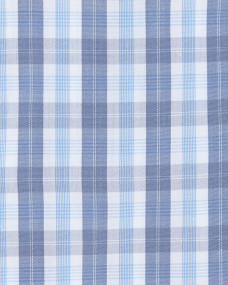 Muted Check Dress Shirt, Gray/White