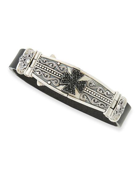 Konstantino Men's Leather & Spinel-Cross Bracelet