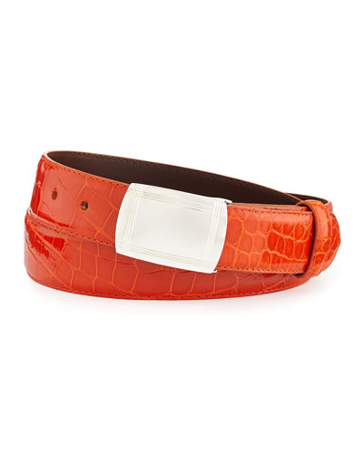 Glazed Alligator Belt with Plaque Buckle, Orange (Made to Order)