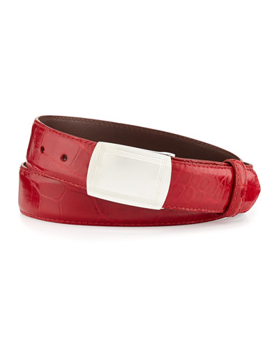Glazed Alligator Belt with Plaque Buckle, Red (Made to Order)