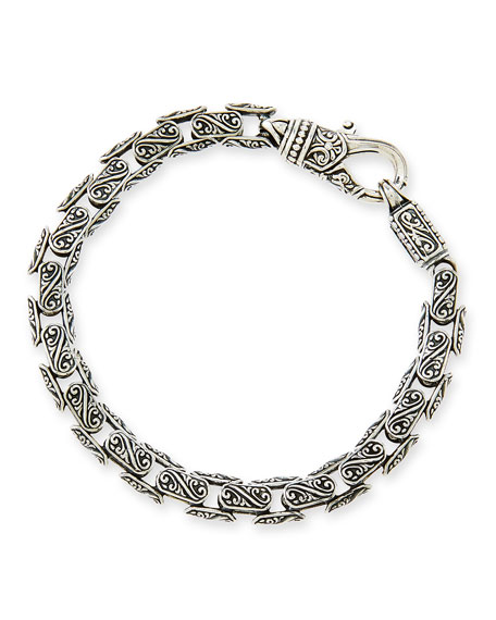 Men's Scroll Oval Link Bracelet
