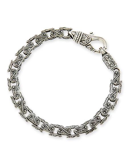 Konstantino Mens Plato Sterling Silver Link Bracelet with Black Spinel A4ONWQr