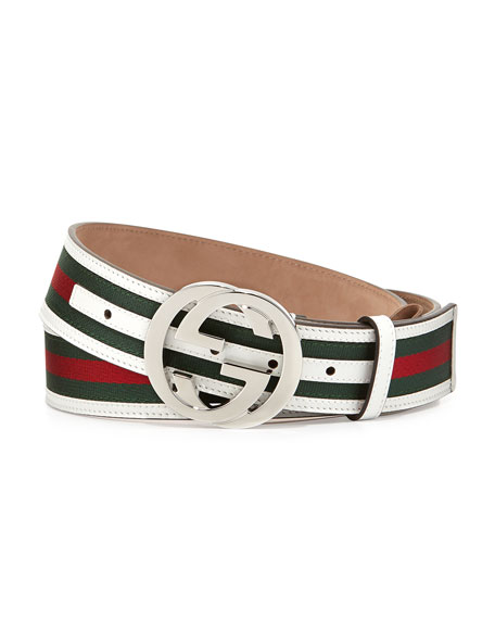 Gucci Green/Red/Green Web GG Belt, White